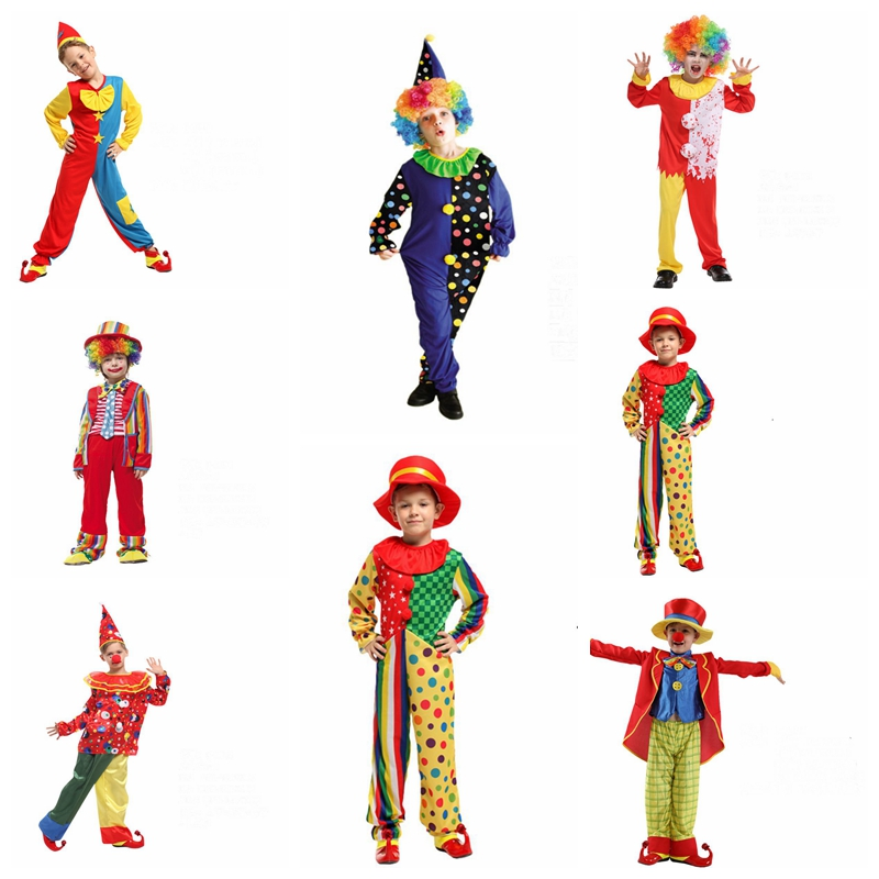 Kid Joker Circus Clown Cosplay Costume Halloween Disfraz Naughty Harlequin Costumes Funny Dress Carnival Party Role Play