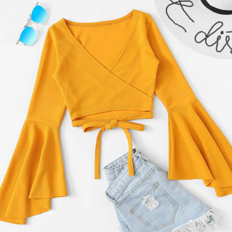 Crop Top Long Sleeve T Shirt Streetwear Bandage Ropa Korean Tshirt Casual Camiseta Mujer Fall Clothes For Women Dropshipping