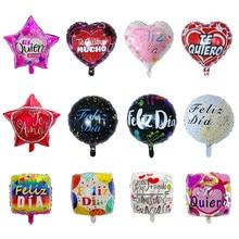 10 pçs 18 polegada espanhol te amo folha feliz dia balões eu te amo coração casamento dia dos namorados aniversário suprimentos hélio globos
