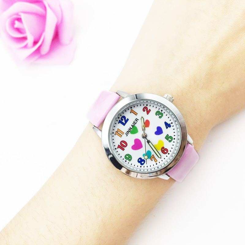 Hot Fashion Children's Watches For Girls Kids Analog Quartz Watch PU Leather Strap Colorful Heart Pretty Students Clock Gift New