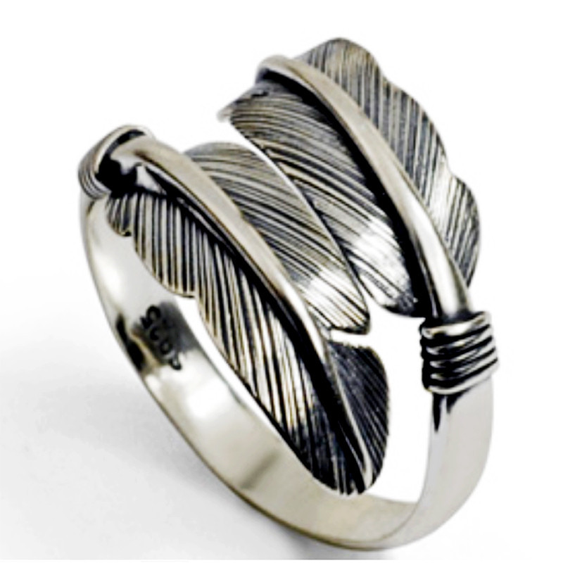 Feather Arrow Finger Ring Antique Silver Adjustable Stainless Steel Ring Punk Party Hip Hop Ring Bands Anillos de plata
