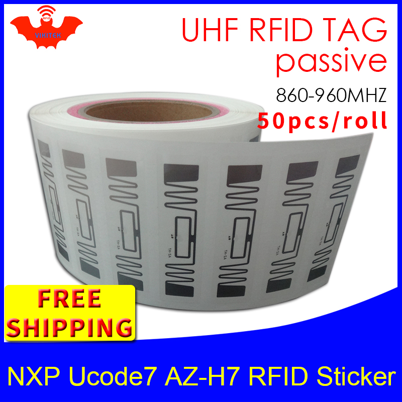 RFID Tag UHF Sticker NXP Ucode7 AZ-H7 Wet Inlay 915mhz868mhz 860-960MHZ EPC 6C 50pcs Free Shipping Adhesive Passive RFID Label