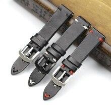 Handmade 20mm 22mm czarny z czarny biały czerwony szwy skóry wołowej pasek do zegarka z prawdziwej skóry dla Mido DW na co dzień zegarek pasek pasek