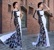 Sexy Long Sleeves Evening Dress 2020 Elegant Muslim Mermaid Long Sleeves with Appliques Lace One Shoulder Prom Party Gowns grey one shoulder long sleeves midi dress