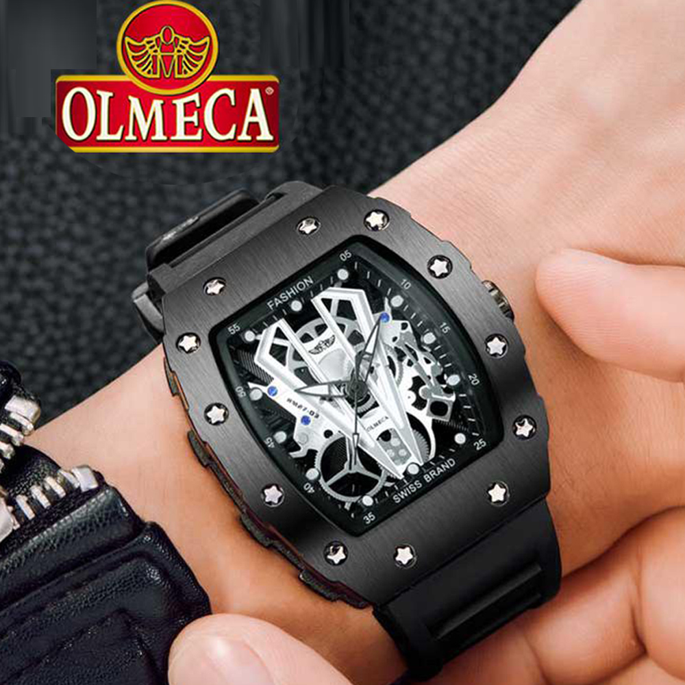 OLMECA 2019 New Men Quartz Watch 2019 Silicone Band Fashion Multifunction 3ATM Waterproof Luminous Display Sport Wristwatch Man