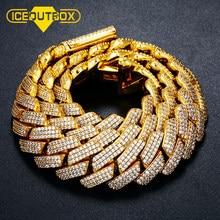 ICEOUTBOX-collar de circonia cúbica de 20mm, Gargantilla de cristal de 3 filas, cierre de caja, cadena de eslabones cubanos, joyería ostentosa de Hip Hop, Miami