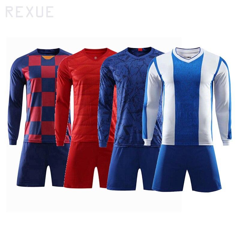 Winter Soccer Jersey Adult Long Sleeve Kids Football Shirt With Shorts Set Training Kit Blank Men Soccer Uniforms Set Hot