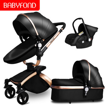 Babyfon 3 In 1 Baby Stroller Folding Two-way Push Luxury High Landscape Baby Carriage With Comfortable Car Seat Trolley image