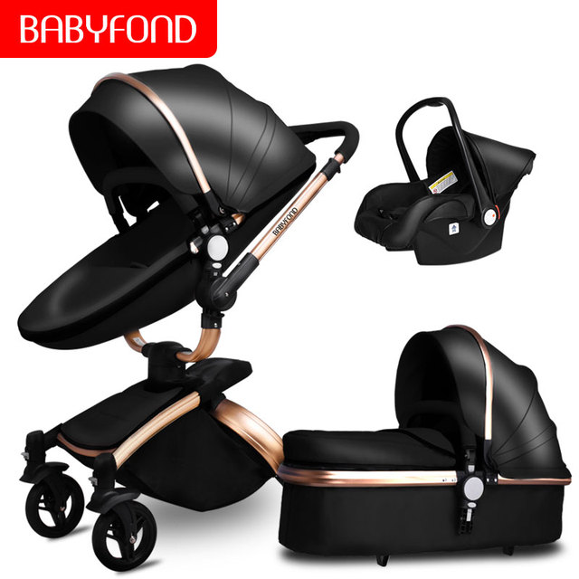 Babyfon 3 In 1 Baby Stroller Folding Two-way Push Luxury High Landscape Baby Carriage With Comfortable Car Seat Trolley
