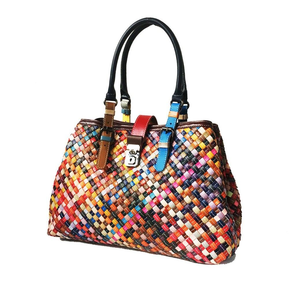 2020 натуральная кожа женская плетеная сумка ручной работы из овчины на плечо Повседневная кожаная женская сумка
