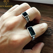 XIYANIKE 925 Sterling Silver Punk Hiphop Rings for Women Vintage Geometric Handmade Thai Silver Trendy Party Finger Jewelry Gift