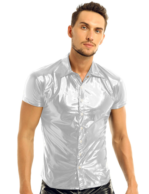 iiniim Mens Fashion Sexy Clubwear Patent Leather Shirt Undershirt for Male Costumes Evening Party Tops Streetwear Male Clothing 5