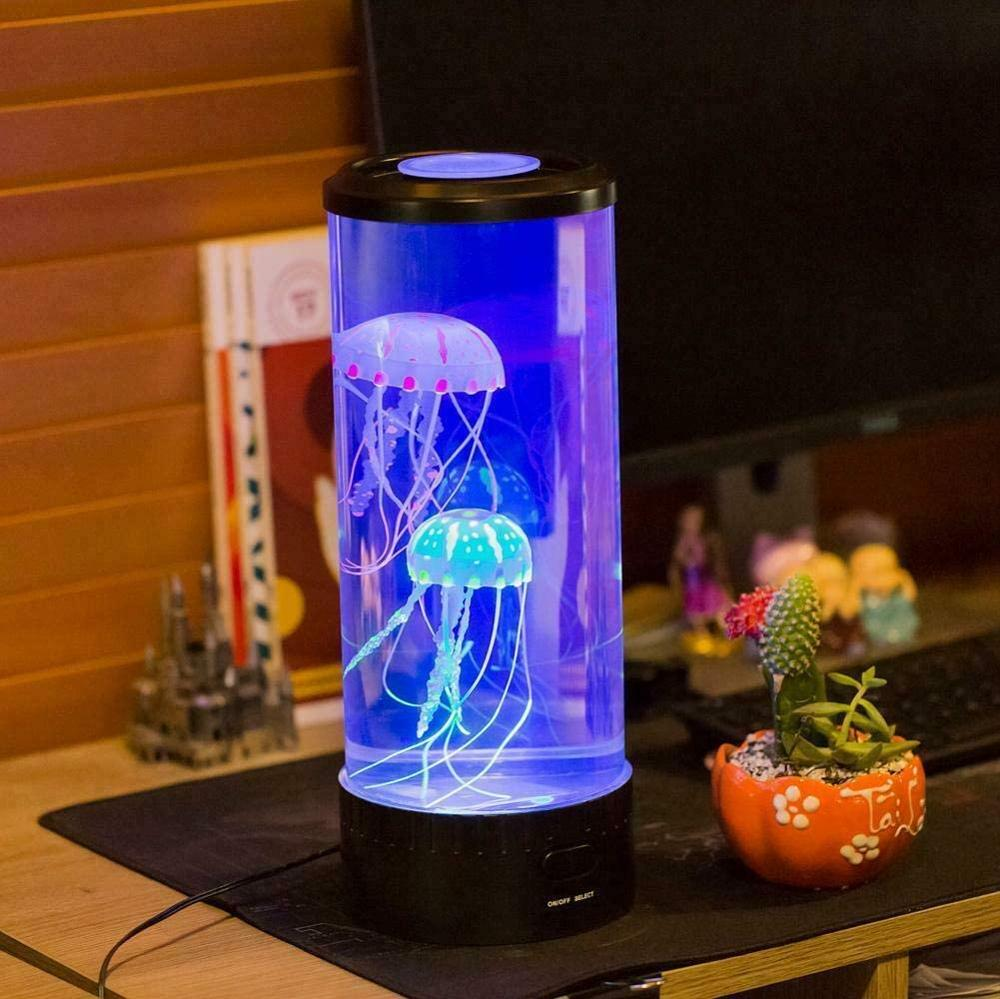 Artificial Jellyfish Tank Night Light Aquarium LED Table Desk Bedside Lamp Kids Gift Home Room Decor With 6 Color Changing Light