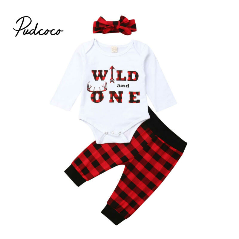 1 Years Christmas Fashion Newborn Toddler Baby Girls Boys Red Plaid Bodysuits Pants Headwear Outfits Set Clothes 2019 For Xmas Clothing Sets Aliexpress