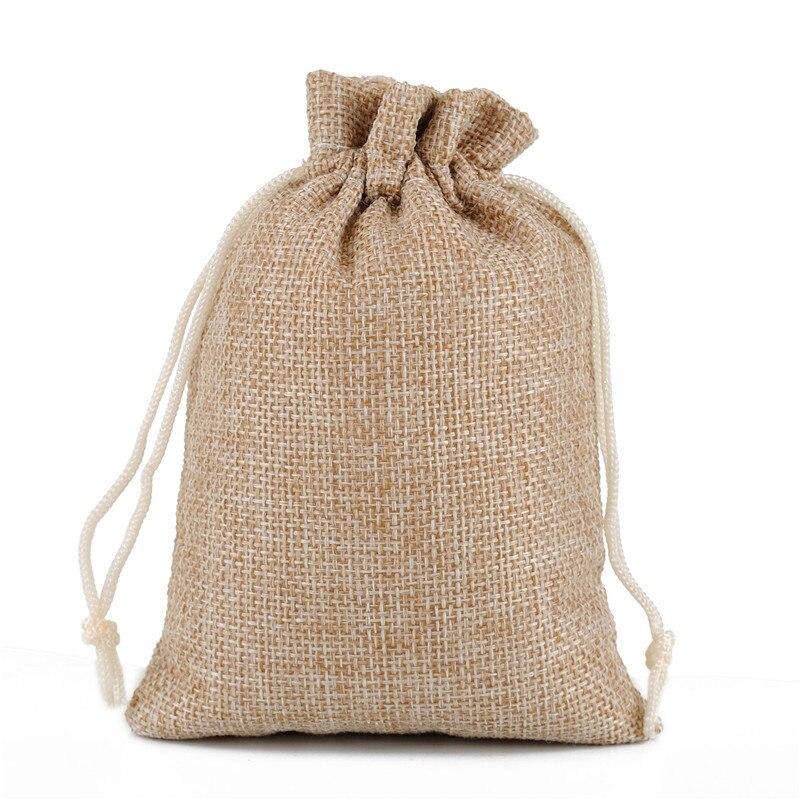 Factory Custom Made Silk Printed Soap Cosmetic Drawstring Jute Gunny Bags Sacks 7*9CM