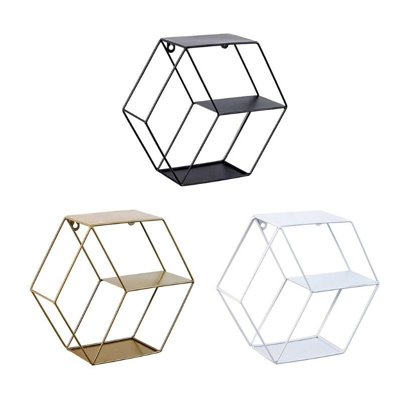 Hexagonal Geometric Iron Grid Wall Shelf Storage Frame Floating Shelves Hanging Figure Living Room Decoration Metal Rack Wire Ba