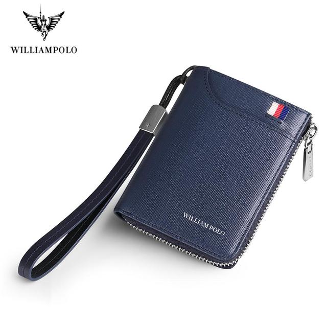 WILLIAMPOLO Men key wallet holder leather car zipper key wallet Anti theft wrist strap Multi function wallet new Coin Purse 2019