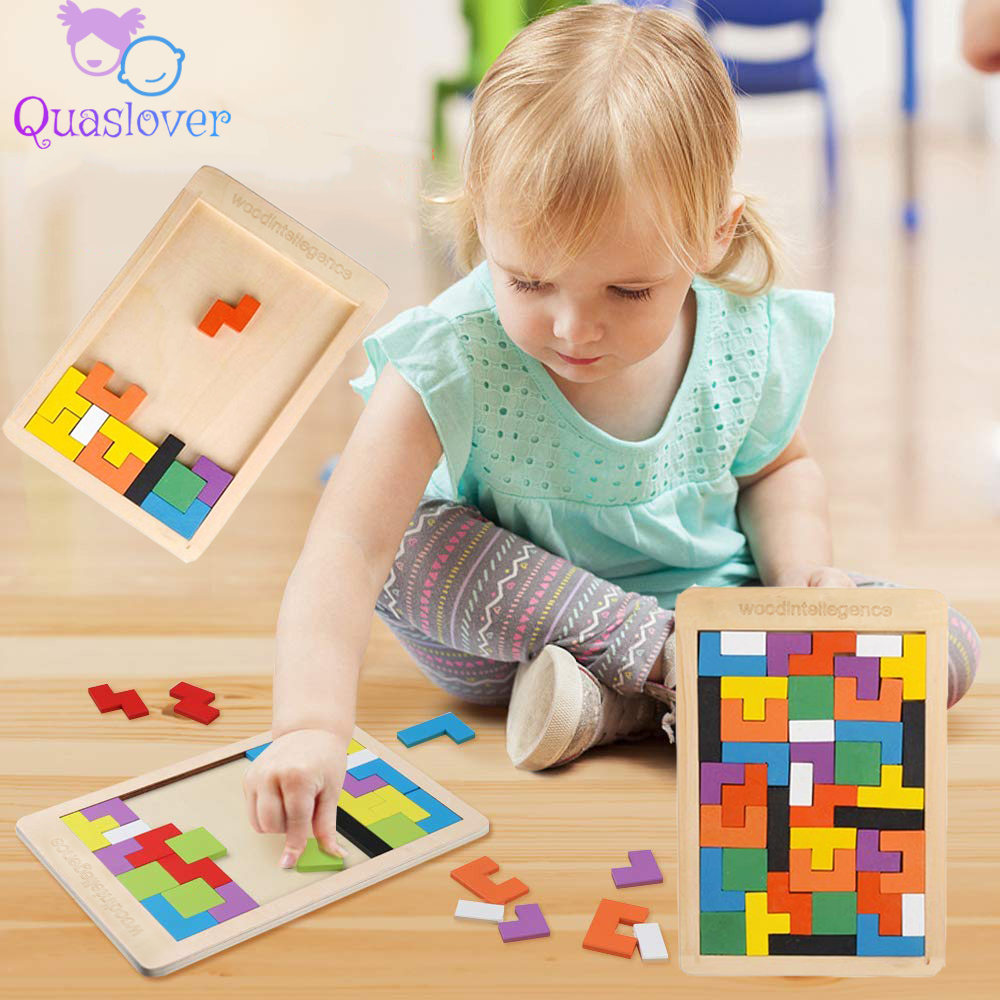 Wooden Toys Jigsaw Puzzle Game Children's Educational Toys for Kids Funny Tangram Brain Teaser Children Puzzle Toys Game