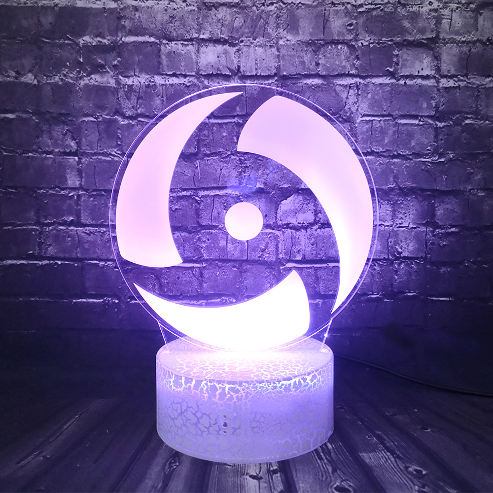 Night Light For Children Bedroom Decor Naruto Sharingan Logo Anime LED 3D Cartoon Optical Mood Table Lamp Kid Birthday Gift Toy