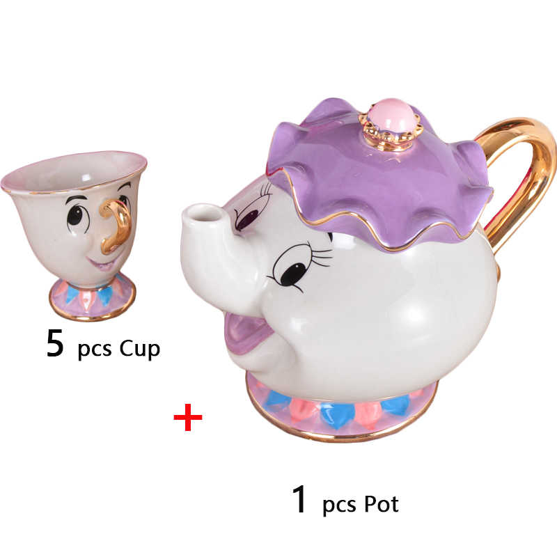 Nieuwe Cup Schoonheid En Het Beest Theepot Mokken Woondecoratie Cartoon Mrs Potts Chip Thee Pot Afternoon Water Kopjes Thee sets 2019