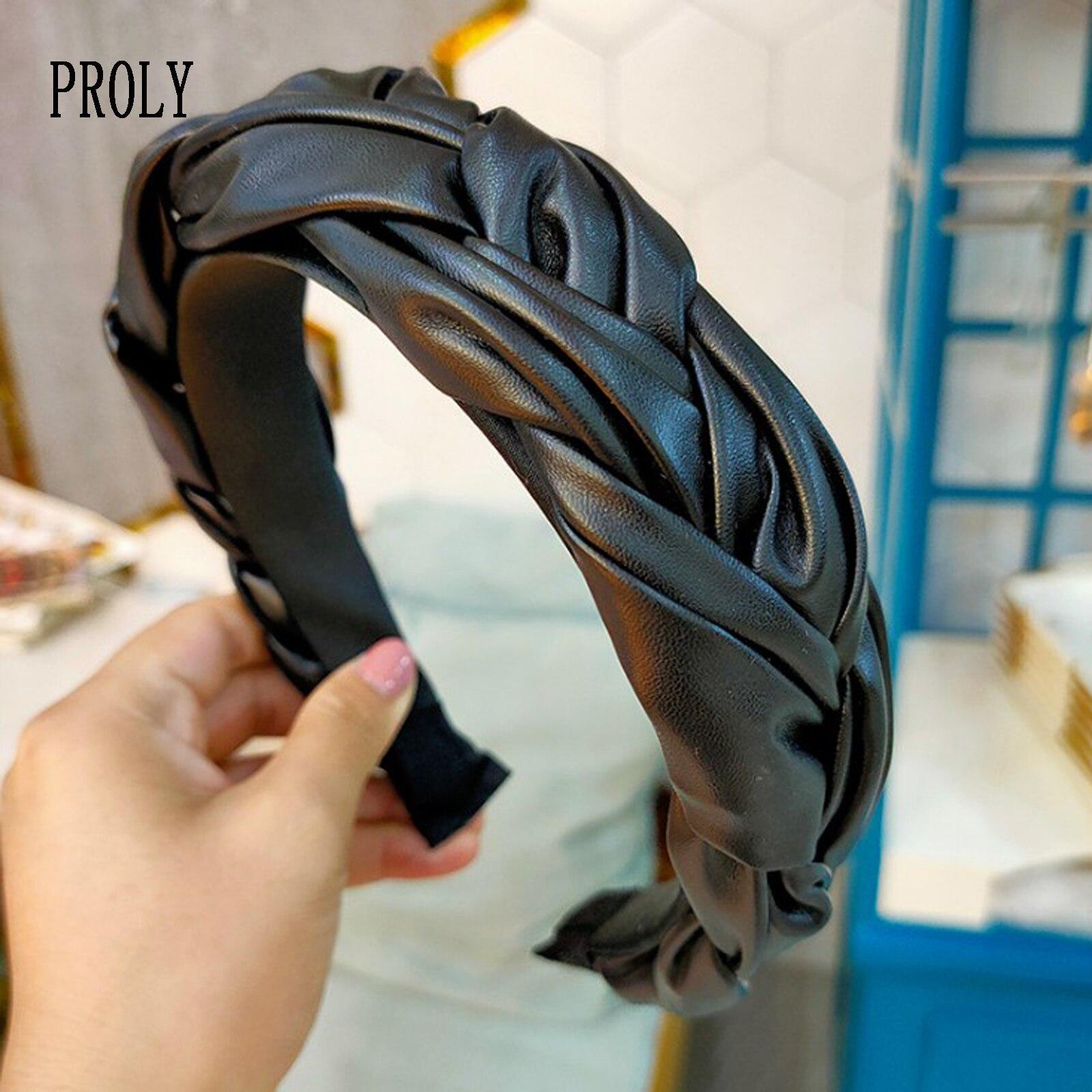 Обруч для волос PROLY женский кожаный, модный аксессуар для волос с перехлёстом, коса с узлом, широкий боковой ободок для взрослых