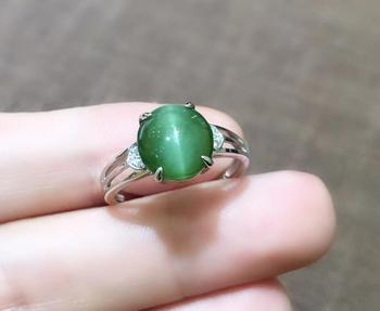 925 Silver-inlaid Hetian Jade Cat's Eye Ring and Tian Jade Ring Gifts