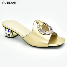 חדש אופנה זהב צבע נעלי חתונה לנשים נעליים מעוטר ריינסטון יוקרה 2020 ריינסטון נעלי מסיבת חתונה