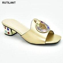 Nieuwe Mode Gouden Kleur Bruiloft Schoenen Voor Vrouwen Afrikaanse Schoen Versierd Met Strass Luxe 2020 Strass Bruiloft Schoenen