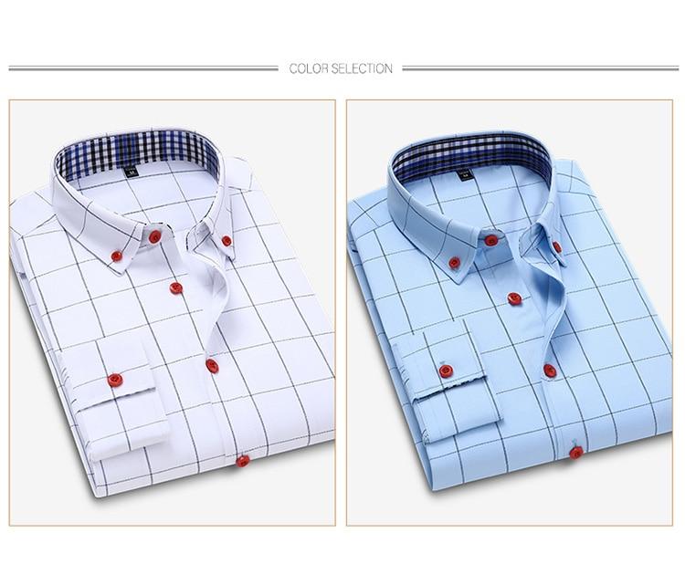 H10f02ad6fa0b4ee399c2f39794925e35A Handsome Fashion Men Shirts Casual Long Sleeved Plaid Shirt Regular Fit Male Blouse 4XL 5XL