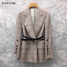 2019 New Vintage Women's Jackets Blazer Long Sleeve Sashes Elegant Office Long blazer feminino Spring Autumn Plaid Blazer Women blazer feminino stripe slim fit women long sleeve spring autumn office lady blazer mujer 2019 women outwear hjj801930