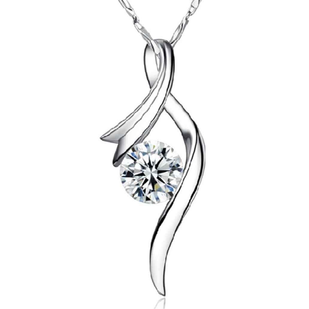 925 Perak Padat Kristal Berlian Imitasi Kalung untuk Wanita Musik Huruf Kotak Rantai Liontin Hadiah Perhiasan