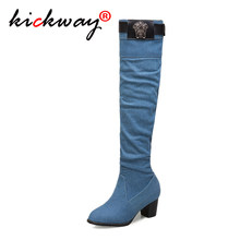 Women Over The Knee Boots Thigh High Boots Jeans Boots Women Thick High Heels Black Beige Blue Large Size 12 13 14 45 46 47 48(China)