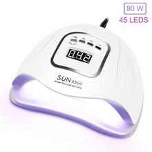 Lampada UV Per La Nail 80W SUNX5Max Essiccatore Del Chiodo Del LED Per Manicure Cura Tutti I Gel Nail polish Lampada 45 Pcs led 30s/60s/90s Auto Sensore