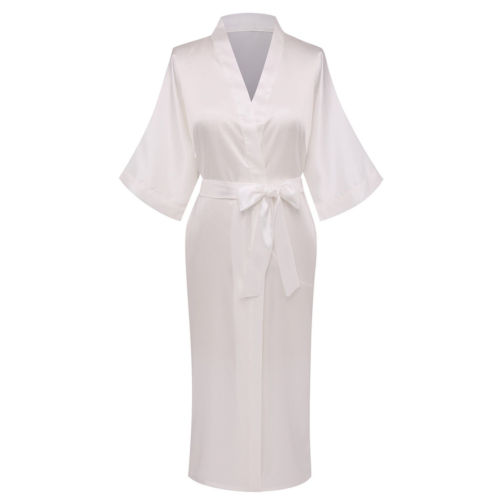 White Rayon Bathrobe Women Kimono Gown Nightdress Satin Long Bride Wedding Party Robe Sexy Lingerie Nightgown Sleepwear