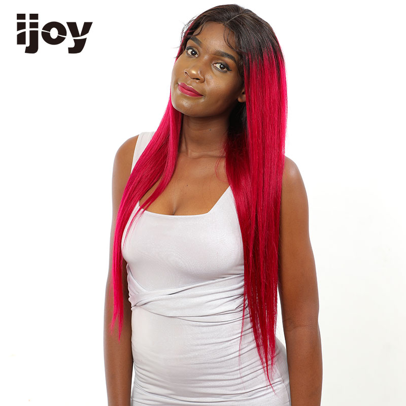 Ombre Red Highlight Wig Colored Human Hair Burgundy Lace Front Wig Straight Brazilian Cosplay 16-26inch Ombre 4x13 Non-Remy IJOY