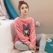 Autumn and Winter Flannel Ladies Long Sleeve Cute Cartoon Pajamas Two-piece Coral Fleece Thick Warm Home Clothes Suit стоимость