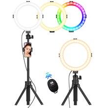 VIJIM K9 Selfie 8 Inch RGB Vòng Đèn Video RingLight Kèm Chân Đế Tripod Điện Thoại Kẹp Chụp Ảnh Chiếu Sáng YouTube Livestream