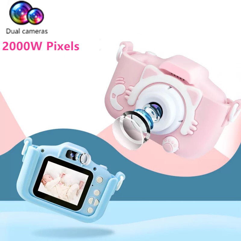 Kids Digital Camera 2 Inch HD Screen Dual Cameras Projection Video 2000W Pixels Children Gifts Boys Girls Toys Parent Child Game