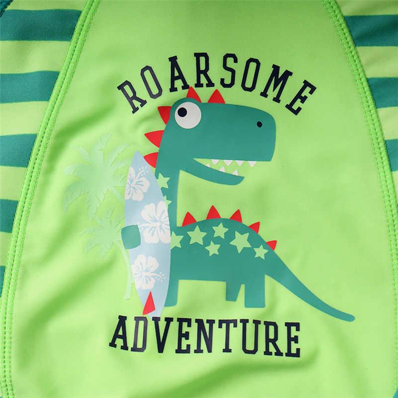 Детский купальник для мальчиков, солнцестойкий, новый стиль, японский и Южно-корейский стиль, цельный купальный костюм, шапочка для плавания с рисунком динозавра