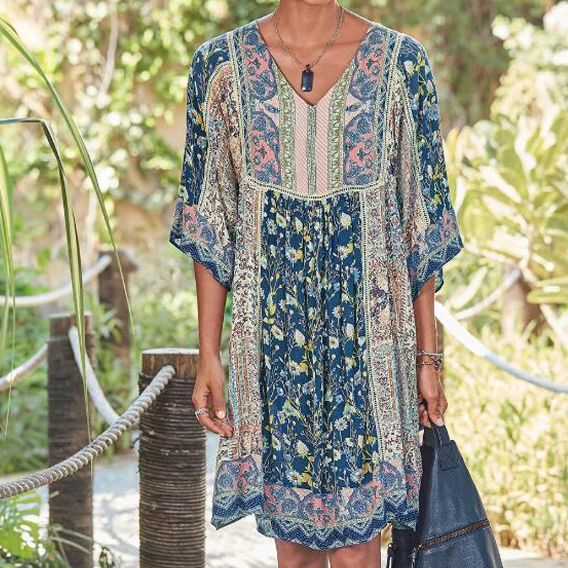 Bohemian Print Maternity Dresses For Pregnant Clothes V Neck Flowers Casual Maternity Clothings Pregnant Women Loose 2020 Summer