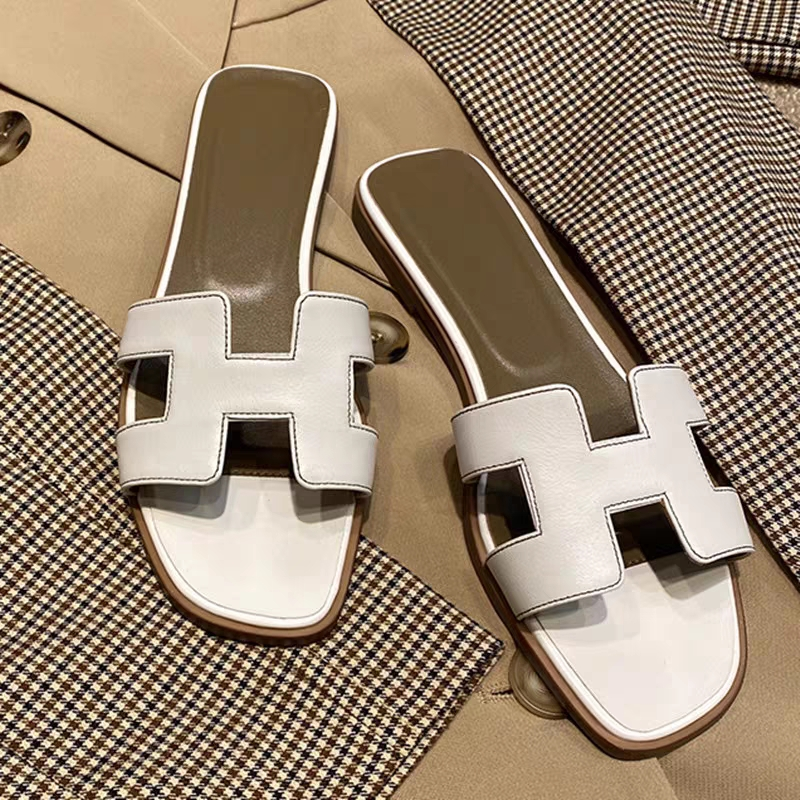 Plus Size 42 Designer Shoes Woman Summer Flat Slippers Genuine Leather Cut Out Ladies Slides Outside Beach Holiday Slipper Q01|Slippers| - AliExpress