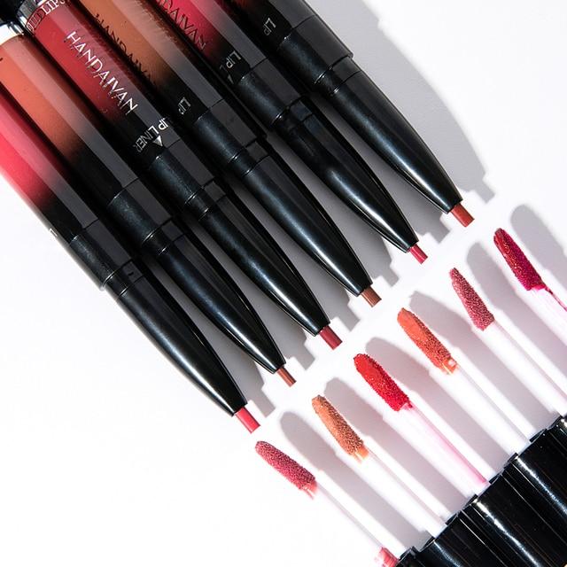 HANDAIYAN 2 In 1 Lip Liner Pencil Lipstick 14 Color Lip Makeup Matte Waterproof Long Lasting Nude Lip Tint Cosmetic Lipliner Pen 4