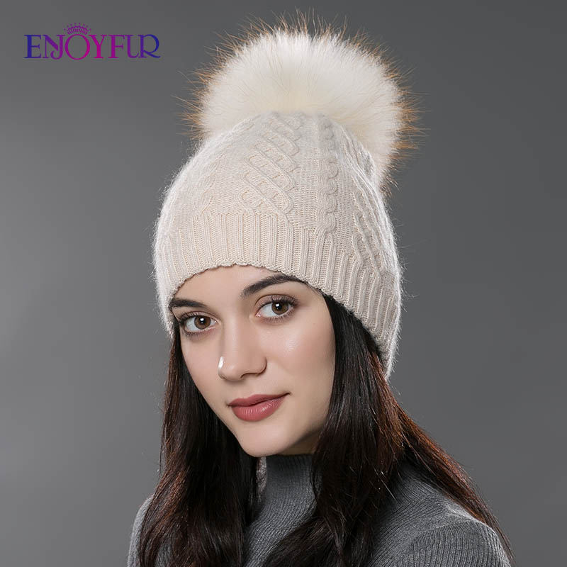 ENJOYFUR Winter Fur Pompom Hat For Women Cashmere Wool Cotton Hat Big Real Raccoon Fur Pompom Beanies Cap  Fox Fur Bobble Hat