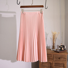 Pleated Preppy Skirt High Waist Korean Midi-calf Pink