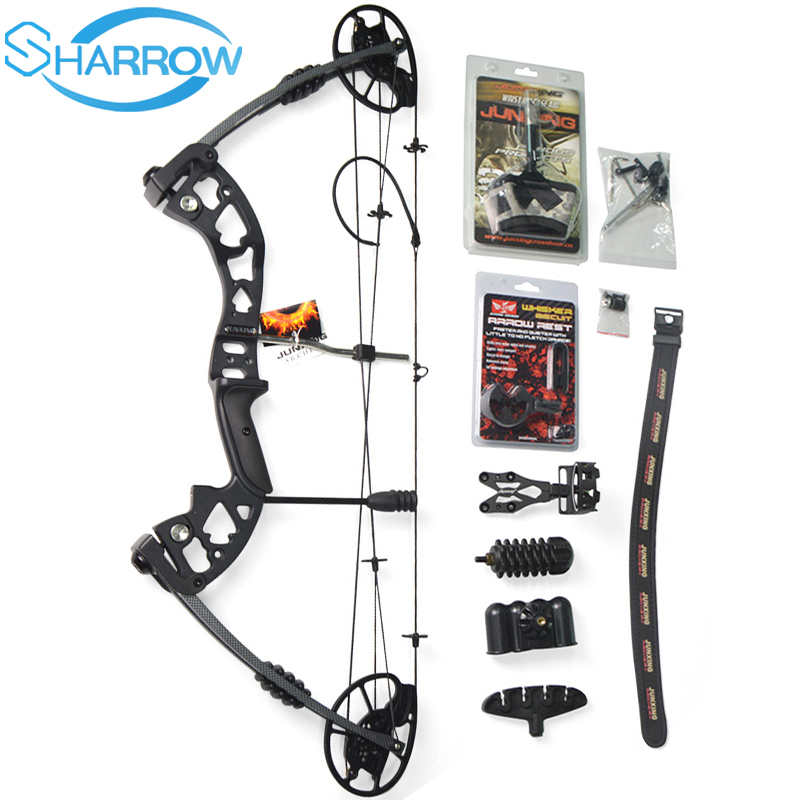 1Set Junxing M125 Compound Bow Archery Black Aviation Aluminum With 30-70lbs Adjustable Draw Weight Hunting Bow Great Power