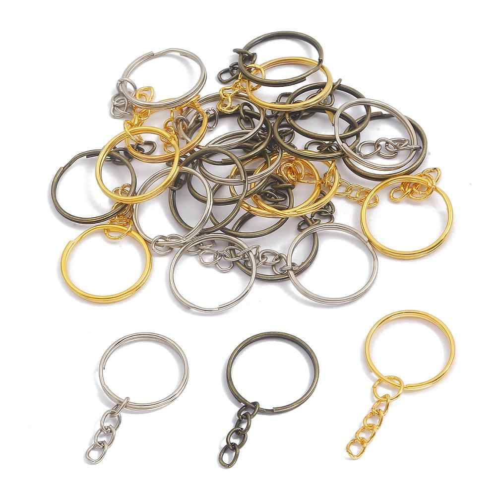 10Pcs Flat Clasp Silver Tone Key Chains Key Ring Jewelry Findings Accessories