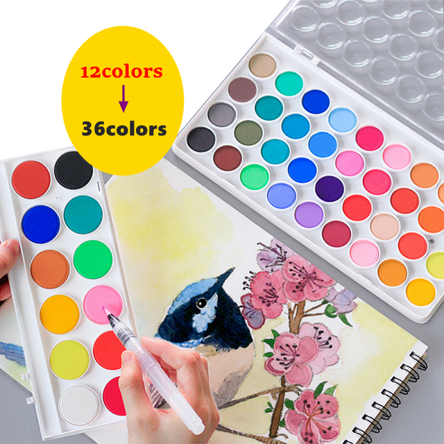 High Quality Solid Watercolor Paint With Wooden Pole Brush Pen Set Portable Water Brush Gouache Pigments School Art Stationery 3