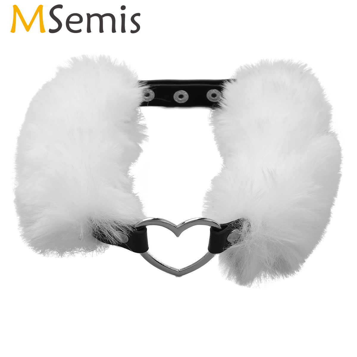 MSemis Sexy Toys For Men Women Erotic Game Gothic PU Leather Faux Fur Collar Choker Necklace Neck Harness With Metal Heart Ring