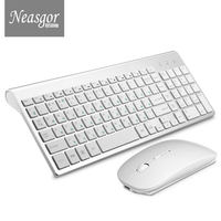 Latest Neasgor Russian Version Wireless Keyboard Mouse Set Ergonomic PC Mouse Silent Button keyboard(Only mouse is rechargeable)