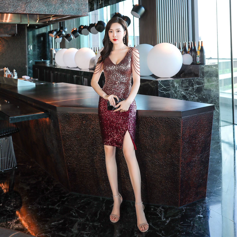 Evening Dress Sleeveless Sequins Women Party Dresses Split Zipper Short Robe De Soiree 2019 Sexy Double V-neck Formal Gowns C307